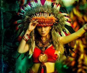 Girl in an Indian costume. Stock Photo 01