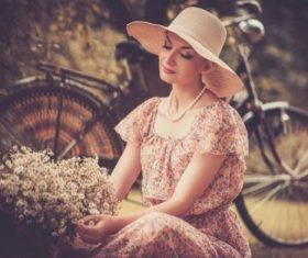 Girl with a bicycle resting in the bosom of nature Stock Photo (8)
