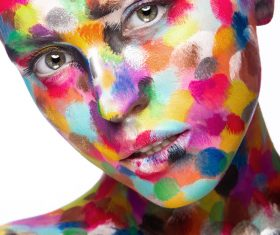 Girl with colored face painted Stock Photo 03
