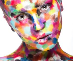 Girl with colored face painted Stock Photo 05