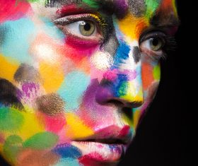 Girl with colored face painted Stock Photo 06