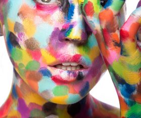 Girl with colored face painted Stock Photo 07