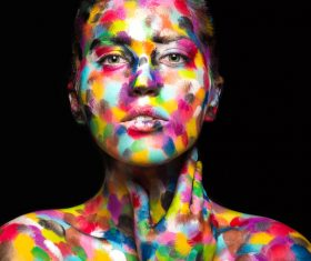 Girl with colored face painted Stock Photo 08
