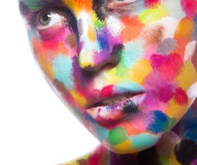 Girl with colored face painted Stock Photo 09