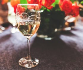 Glass of White Wine Champagne Stock Photo
