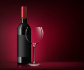 Glass wine cup with bottle vector 01