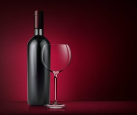 Glass wine cup with bottle vector 02