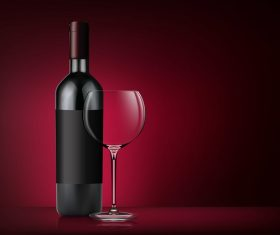 Glass wine cup with bottle vector 03