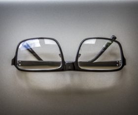 Glasses on the desktop Stock Photo