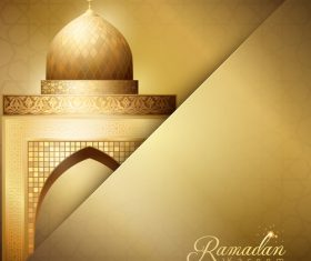 Gold Mosque illustration for Ramadan Kareem greeting background vector