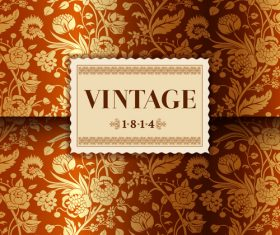 Gold flower with vintage card vector