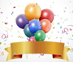 Golden banner and confetti with balloons background vector