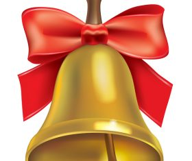 Golden bell with red bows vector illustration 01