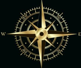 Golden compass with black background vector