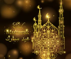 Golden mubarak decor with halation background vector