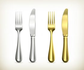 Golden with silver tableware vector
