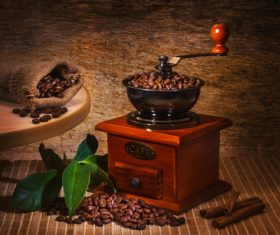 Grains of coffee with leaves Stock Photo  (1)