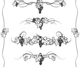 Grape decor with border vector