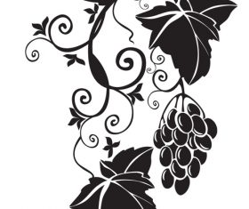 Grapes with leaves silhouette vector