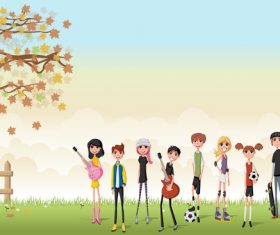 Grass meadow with cute students vector 02