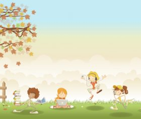 Grass meadow with cute students vector 03