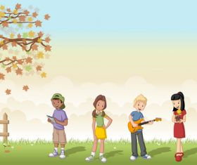 Grass meadow with cute students vector 04