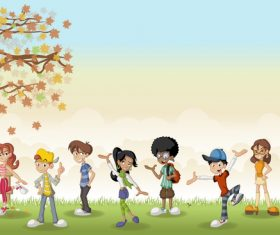 Grass meadow with cute students vector 05