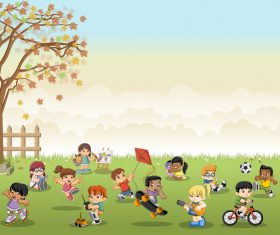 Grass meadow with cute students vector 06