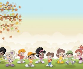 Grass meadow with cute students vector 07