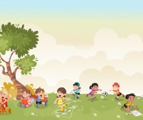 Grass meadow with cute students vector 08