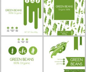 Green beans package box template vector