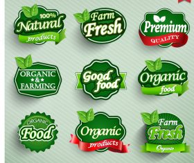Green farm fresh with orgenic food labels vector