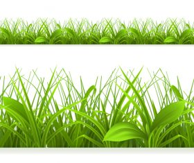 Green grass with leaves vector illustration 01