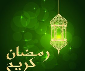 Green halation background with mubarak decor lamp vector