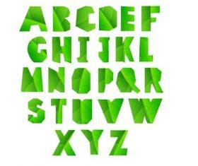 Green leaves texture alphabet vectors