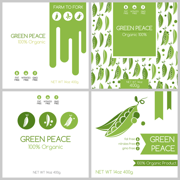 Green pea package box template vector