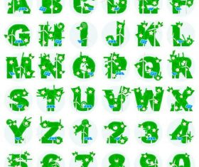 Green plants with alphabet vectors
