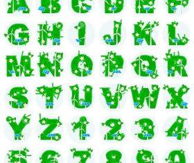 Green plants with alphabet vectors