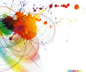 Grunge stains background with colored elements vector 01