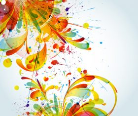 Grunge stains background with colored elements vector 04