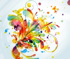 Grunge stains background with colored elements vector 05