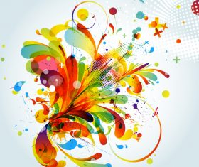 Grunge stains background with colored elements vector 06