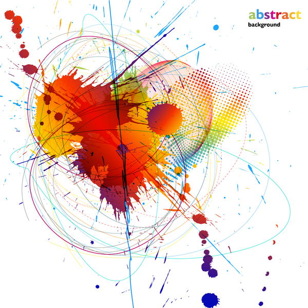 Grunge stains background with colored elements vector 09