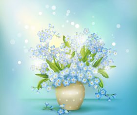 Halation background with blue flower vector