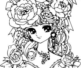 Hand-drawn cartoon girl vector