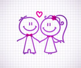 Hand drawn lovers on the paper vector 08