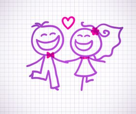 Hand drawn lovers on the paper vector 09