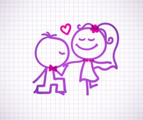Hand drawn lovers on the paper vector 10