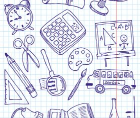 Hand drawn school elements vector design 02
