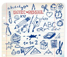 Hand drawn school elements vector design 04